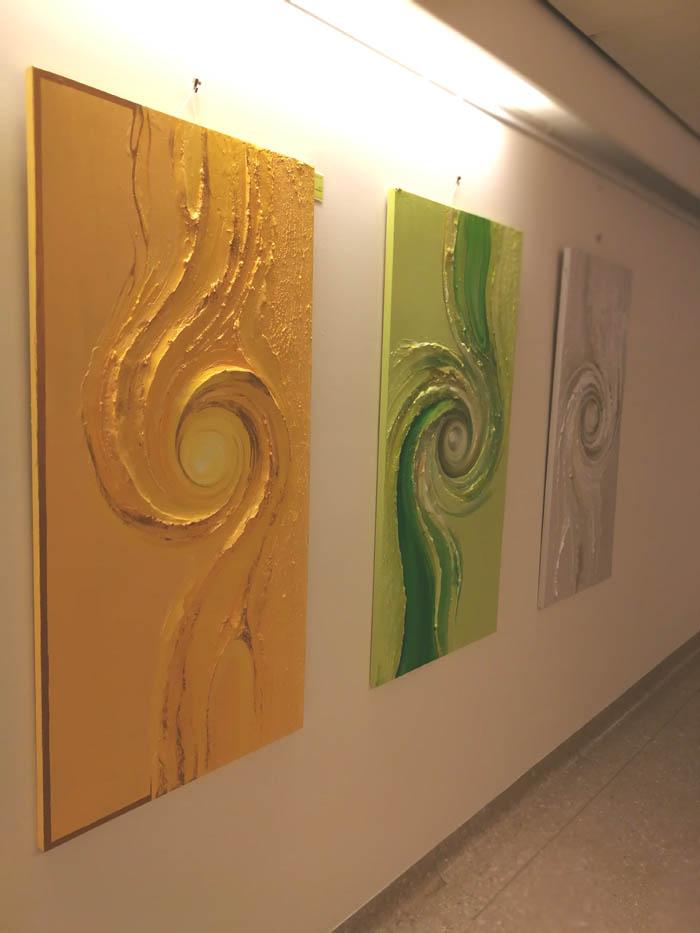 Spiralenbilder weiss gruen gelb