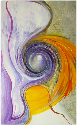 spiralenbild lila orange steh